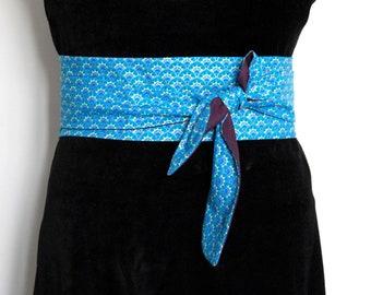 Obi belt fabric coloured gilding waves japanese belt