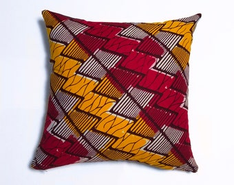 Red Yellow Orange ZIgZag Geometric Pillow Cover - Unique Modern Art Deco Throw Cushion - Decorative New Home Toss Gift - Retro Bowie Vibrant