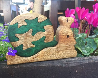 Wooden toy, Snail puzzle, Slug puzzle, Wood puzzle, Kids gift, Animal puzzle, Jigsaw puzzle, Gift for kids, Birthday gift, Wood working.