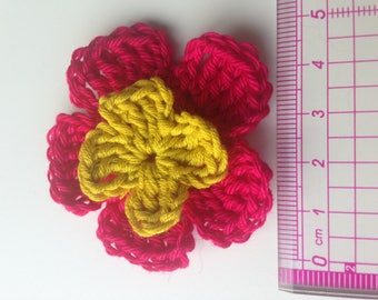 Set of 4 double crochet rose tone flowers and mustard yellow heart