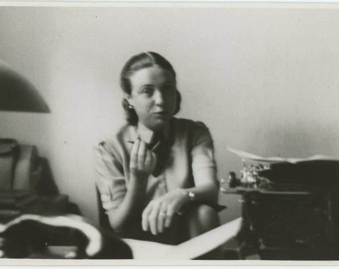 Woman with Typewriter, c1940s: Vintage Snapshot Photo (73553)