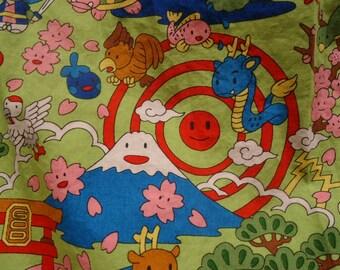 Kawaii skirt with Dragons, Turtles, Mount Fuji, Bunnies and Samurai