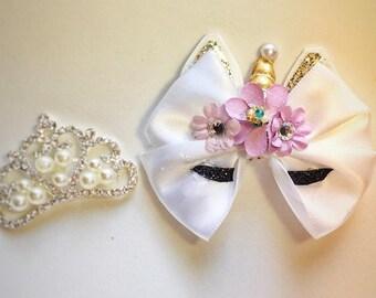 Unicorn bow, unicorn, unicorn party bows, elegant unicorn bow, unicorn party, bows for girls, infant bows, toddler bows, baby headband, bows