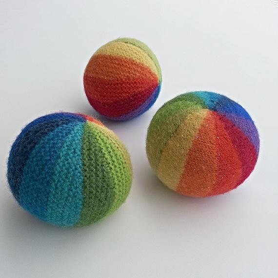 KNITTING PATTERN Knitted Balls Rainbow Ball Soccer Ball