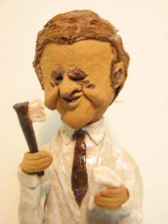 Dentist Sculpture Figure, Large Pottery Clay Figurine, Signed 1980s Studio Pottery, Vintage Dental Office Decor