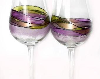 ARTini Glasses Hand Painted White Wine Glasses - Set of 2