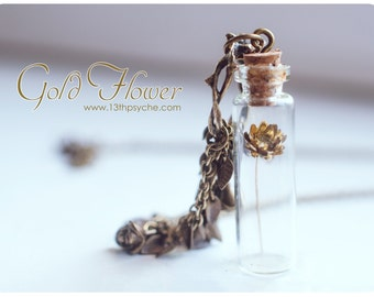 Gold flower Bottle necklace.Glass bottle pendant. Cute Necklace. Pendant necklace miniature bottle dried flower necklace glass vial pendant