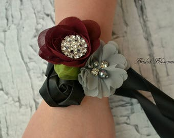 Burgundy Black Gray Chiffon Satin Flower Wrist Corsage | Vintage Inspired Wedding | Boutonniere Set | Prom Homecoming Flowers Bout Dark Red