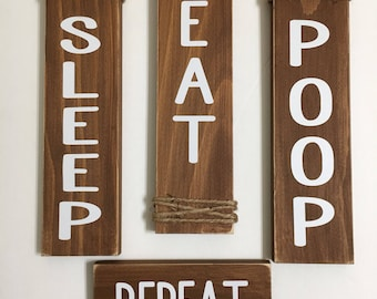 Set of 4 | Brown Nursery Signs | Sleep Eat Poop Repeat | Rustic Signs