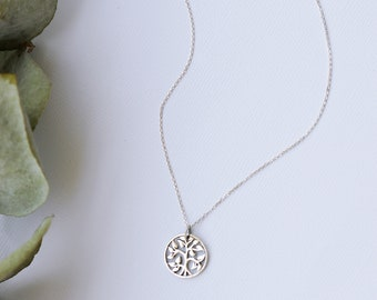 Tree of life disc necklace