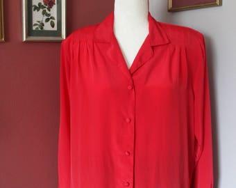 Vintage Worthington Essentials Red Long Sleeve Blouse