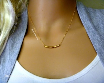 Gold Tube Necklace - Sterling Silver or Gold Filled - Layering Necklace - Birthday Gift