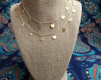 Double the love necklace - double layered gold dangle