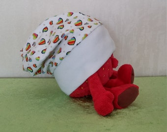 Wendebeanie White Jersey with rainbow-colored hearts in different sizes, art. No. 11006