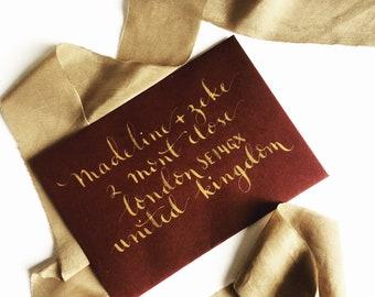 Gold Ink - Envelope Hand Lettering