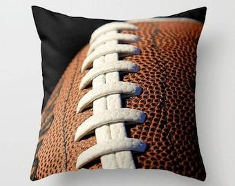 Football Toss Pillow-Photo Pillow Cover-Football Pillow-Sports Pillow Cover-14x14/16x16/18x18/20x20/26x26-Athletic Decor-Family Room Decor