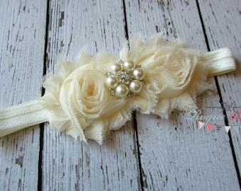 Cream Ivory Headband Pearl Rhinestone -  Flower Girl - Newborn Infant Baby Toddler Girls Adult Wedding