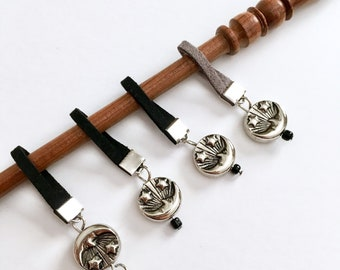 Sun and Moon leather cording stitch markers with progress keeper