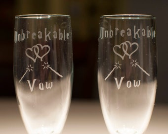 """Harry Potter """"Unbreakable Vow"""" Wedding Champagne Toast Flute Glass Bride and Groom Set"""