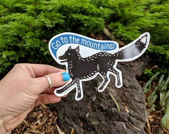 Go To The Mountains Fox - UV-resistant waterproof vinyl decal sticker