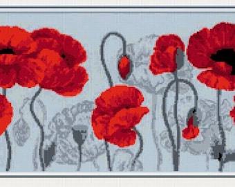 Cross stitch pattern PDF poppy, Cross stitch pattern PDF poppies, Cross stitch pattern PDF flowers