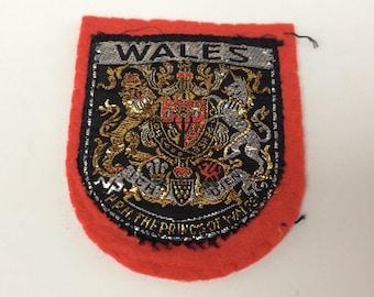 Vintage 1970s Wales Fabric Sew on Patch - Tourist Souvenir