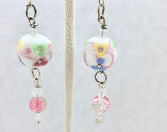 Pink White Green Blue Floral Lampwork Glass Dangle Earrings Doodaba