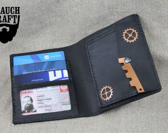 Steampunk leather bifold wallet customized steam gears