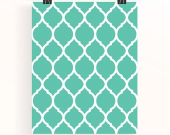 moroccan pattern print - emerald wall art - turquoise home wall art - aqua home decor - home office wall art - teal poster