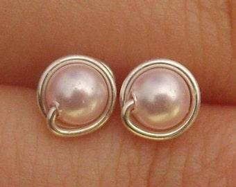 Tiny Rosaline Pearl Stud Earrings (5mm), Swarovski Pearl Stud Earrings, Wire Wrapped Sterling Silver Stud Earrings, Little Pink Studs