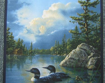 Patchwork panel fabric coupon sticker 2 DUCKS on Lake n 1