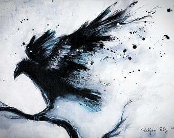 Giclee print on glossy photo paper - 8x12in or 16x12in A4 A3 - abstract raven painting