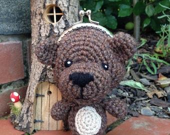 Teddy Bear Coin Purse Crochet Pattern