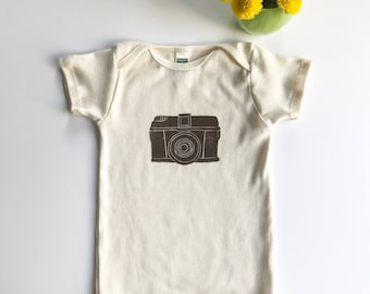 Ships free in US! Camera Organic Cotton Short Sleeve One Piece_ made in Seattle-Baby shower gift- Gift for Photographers