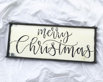 Handcrafted Wooden Sign // Merry Christmas