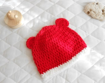 Red and white with ears baby Hat