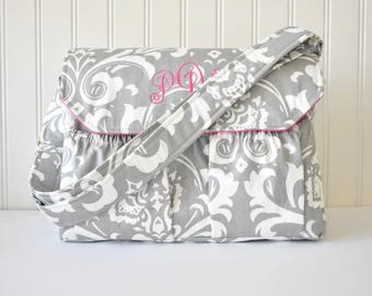 Personalized Damask DSLR Camera Bag in Gray and Hot Pink Monogrammed Bag for Canon Sony Nikon