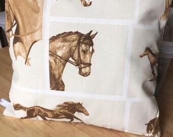 Beautiful tweed and horse print cushion