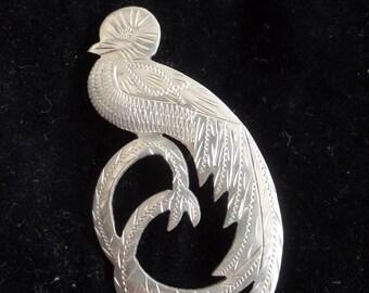 Resplendent Quetzal Bird Brooch in Sterling Silver