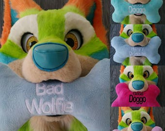 Custom embroidered bone plush prop - Choose your own colors and text!