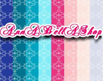 80% OFF SALE Digital Papers Damask 1 - digital paper pack, Card Design, wallpaper, damask background, damask pattern