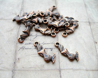 6 Antique Copper Mermaid Charms