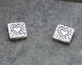 Square Studs - Cute Heart Silver Mosaic - Sterling Silver Backs - Simple Studs - Tiny Earrings