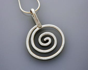 Metal jewelry, silver jewelry- small silver spiral necklace, swirls necklace