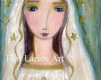 Our Lady of Lourdes -   PRINT from  Painting by FLOR LARIOS (5 x 7 Inches)
