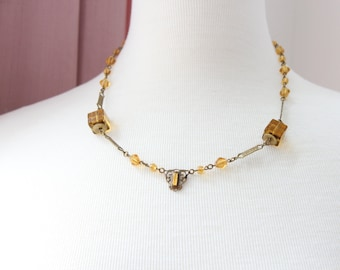 Art Deco Brass Necklace with Amber Glass Beads