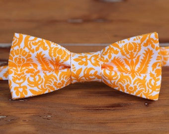 Mens Orange and White Floral Bow Tie | pre tied bowtie | mens floral bow tie | adjustable bow tie | Christmas gift for him | mens accessory