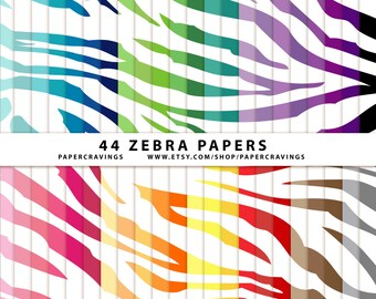 """Zebra Digital Paper Pack 12"""" x 12"""" Commercial and Personal Use - Animal Print - Rainbow - 44 sheets INSTANT DOWNLOAD scrapbooking no credit"""