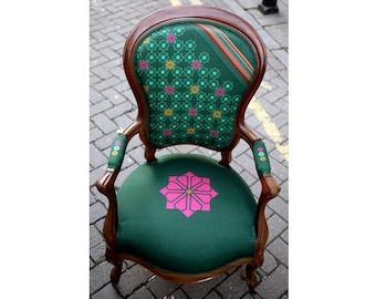 Neo Arabesque Pattern Design Victorian Walnut Armchair