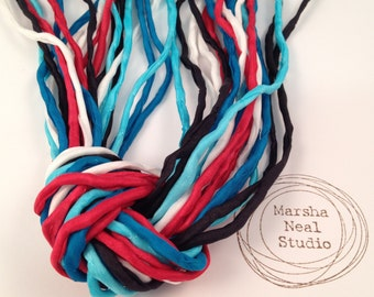 Hand Dyed Silk Ribbon - Silk Cord - DIY - Jewelry Supplies - Wrap Bracelet - Craft Supplies - 2mm Silk Cord Strands Red White Blue Black